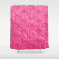 lv Shower Curtains featuring Pink LV by Luxe Glam Decor