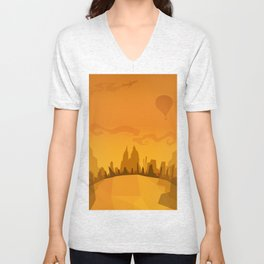 Autumn in a city Unisex V-Neck