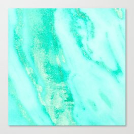 Shimmery Sea Green Turquoise Marble Metallic Canvas Print