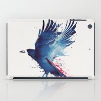 bird iPad Cases featuring Bloody Crow by Robert Farkas