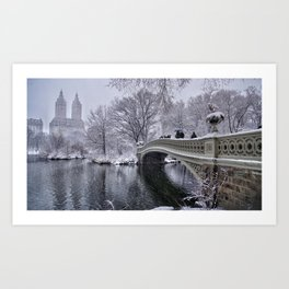 Nor'easter On The Bow Bridge In Central Park Art Print