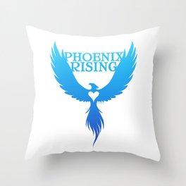 PHOENIX RISING - blue Throw Pillow