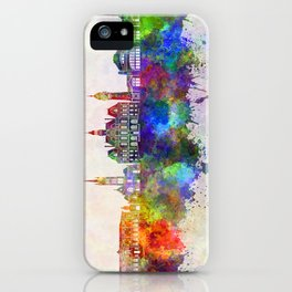 Limoges skyline in watercolor background iPhone Case