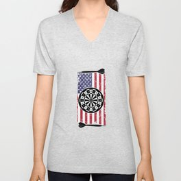 Proud American USA Flag Dart Player Gift Unisex V-Neck