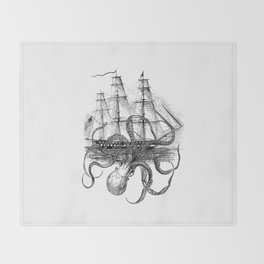 Octopus Attacks Ship on White Background Throw Blanket