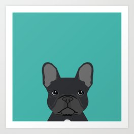 French Bulldog black coat peeking cute frenchie pure breed dog lover gifts Art Print