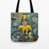 clown Tote Bags featuring Clown by May Ling Yong