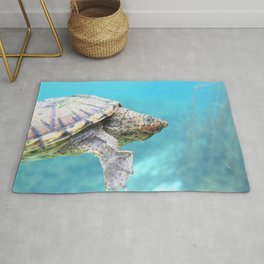 Watercolor Turtle, Loggerhead Musk Turtle 01, Rainbow Springs, Florida Rug