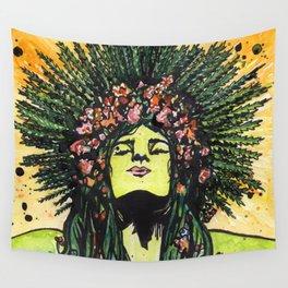Green Goddess Wall Tapestry