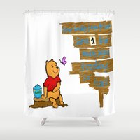winnie the pooh Shower Curtains featuring Winnie The Pooh by LaLunaBee