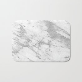 Marble - Silver and White Marble Pattern Bath Mat