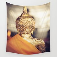 buddhism Wall Tapestries featuring Buddha the other side  by Maria Heyens