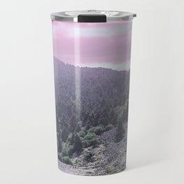 Pink Sunset on Mountains Travel Mug