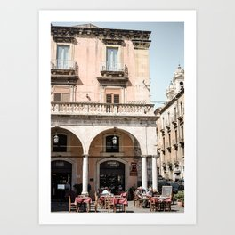 Catania Cafe Culture | Bright and Airy | Italy Street Photography Art Print