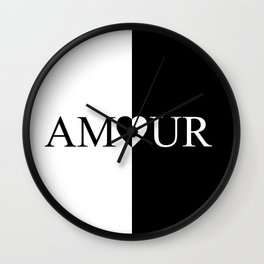 AMOUR LOVE Black And White Design Wall Clock