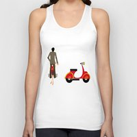 vespa Tank Tops featuring VESPA by Joe Pansa