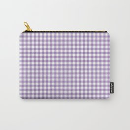 Geometric modern violet white checker stripes pattern Carry-All Pouch