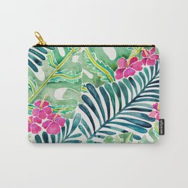 Lush Tropical Fronds & Hibiscus Carry-All Pouch