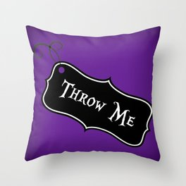 """Throw Me"" Alice in Wonderland styled Bottle Tag Design in 'Shy Violets' Throw Pillow"