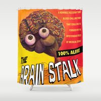 """movie posters Shower Curtains featuring """"The Brain Stalk"""" Movie Poster by 7 Hells: Retro Horror art of Bill Rude"""