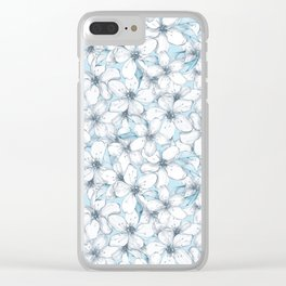 Cherry blossom. Blue Clear iPhone Case