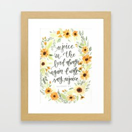 watercolor sunflowers Bible verse /// rejoice in the Lord always Framed Art Print