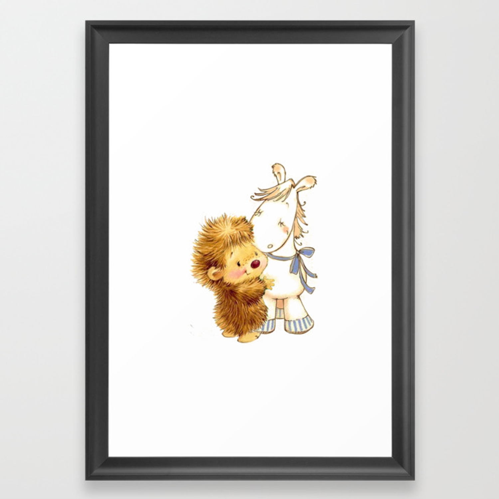 Baby Hedgehog Hedgie Pony Horse Nursery Room Framed Art Print