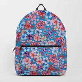 Blue Cascading Floral Chirimen Backpack