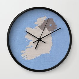 Ireland Linen Fabric Map Art Wall Clock