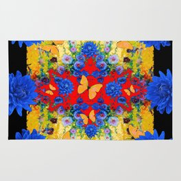 BLACK YELLOW GARDEN BLUE  FLOWERS YELLOW BUTTERFLIES Rug