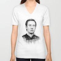 data V-neck T-shirts featuring Star Trek: Data by Olechka