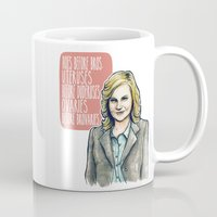 leslie knope Mugs featuring Leslie Knope by Tiffany Willis