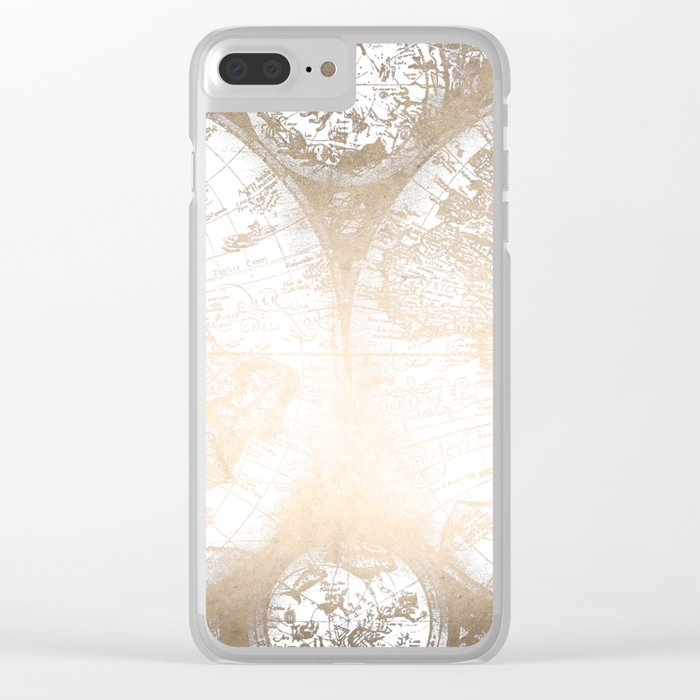 Antique White Gold World Map Clear iPhone Case