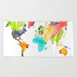Watercolor World Beach Towel