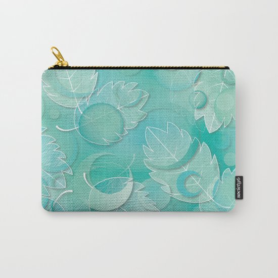 Floating Leaves Pattern IV - Winter, Ice Teal Carry-All Pouch