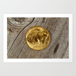 Fine gold Buffalo Coin on rustic real wooden background Art Print