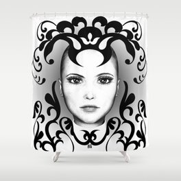 Black and white ornamental face Shower Curtain