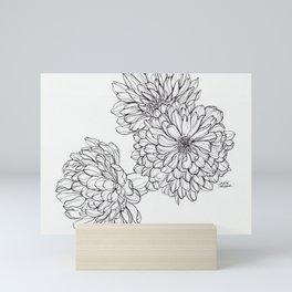 Ink Illustration of Summer Blooms Mini Art Print