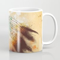 native american Mugs featuring Native American Girl by TapuTIKI