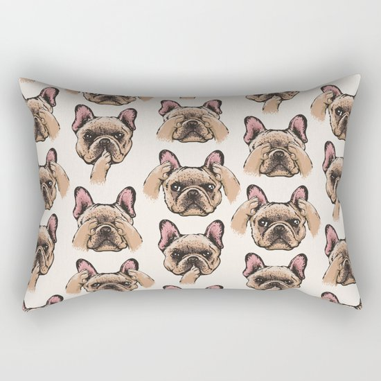 No Evil  Frenchie Rectangular Pillow