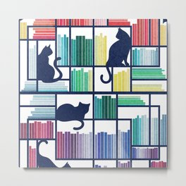 Rainbow bookshelf // white background navy blue shelf and library cats Metal Print
