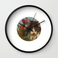 sia Wall Clocks featuring 003 by omgcatz