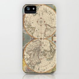 1672 World Polar Projection Map  iPhone Case