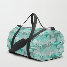Green Turquoise Glamour Mermaid Scale Pattern Duffle Bag