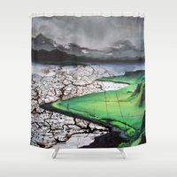 atlas Shower Curtains featuring Scottland Atlas by The Whiskey Ginger