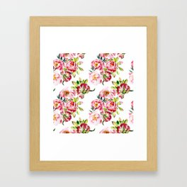 Watercolor pattern with peony flowers Framed Art Print