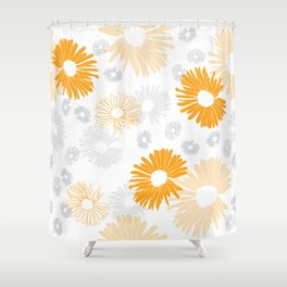Yellow and gray flowers Shower Curtain