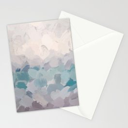 Teal Aqua Purple Lavender Abstract Wall Art Ocean Clouds Painting Print Stationery Cards