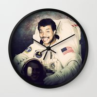neil gaiman Wall Clocks featuring Neil deGrasse Tyson - Astronaut in Space by Nicholas Redfunkovich