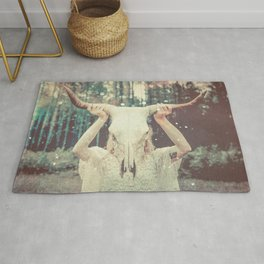 Bull Skull Tribal Woman Rug